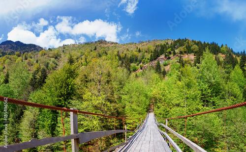 Obraz na plátně Georgia. Caucasus. Wooden suspension bridge