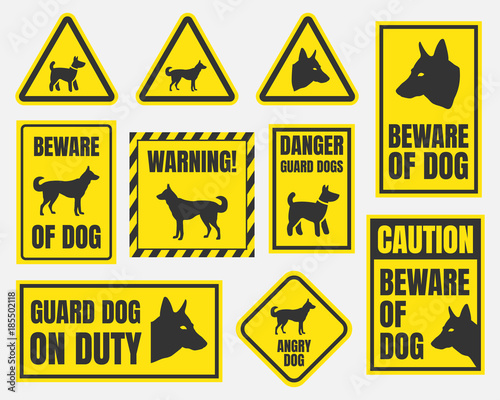 фотографія danger dog signs, beware of dog warning stickers