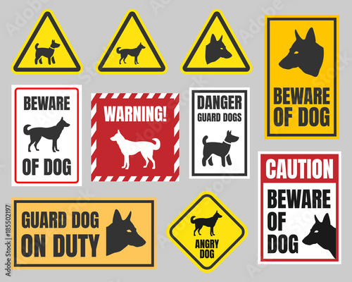 Photo warning dog sign, beware of dog caution signs