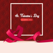 Red Upholstery Background And Ribbon Heart Shape With Frame. Sexy Valentines Day Design Concept. Web Banner Or Invitation With Love Symbol.