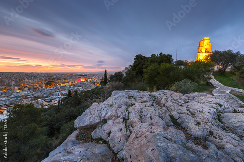 Spoed Foto op Canvas Mediterraans Europa View of Athens and Filopappos monument early in the morning, Greece.