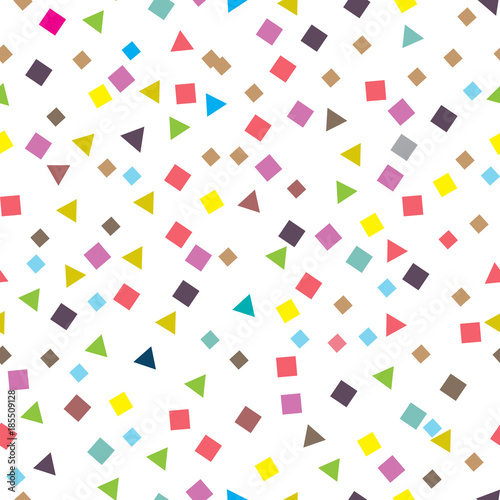 Fototapeta Seamless pattern with small squares and triangles. Vector repeating texture. obraz na płótnie