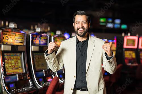 Foto op Aluminium Las Vegas Lucky man celebrating his winnings