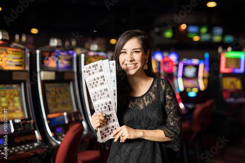 Foto op Aluminium Las Vegas Woman winning the casino lottery