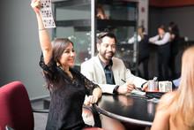 Woman Winning The Casino Lottery