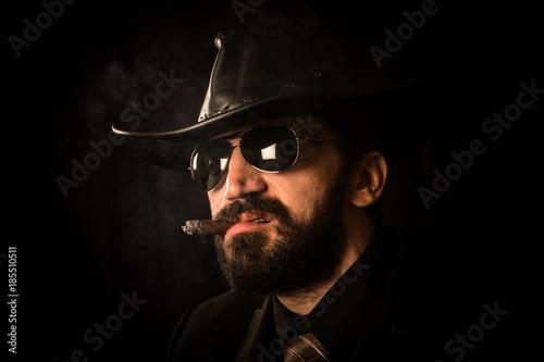 Fotografie, Obraz  cowboy with cigar