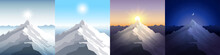 Nature Mountain Set. A Midday Sun, Dawn, Sunset, Night In The Mountains. Landscapes With Peak. Mountaineering, Traveling, Outdoor Recreation Concept. Abstract Vector Backgrounds For Web, Prints Etc.