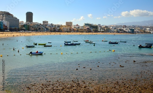 Fishing boats in low tide, Las Canteras beach, Las Palmas city, Gran canaria, Canary islands