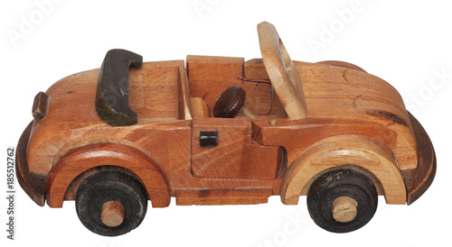 Homemade Toy Wooden Car Isolated On White Background Buy This