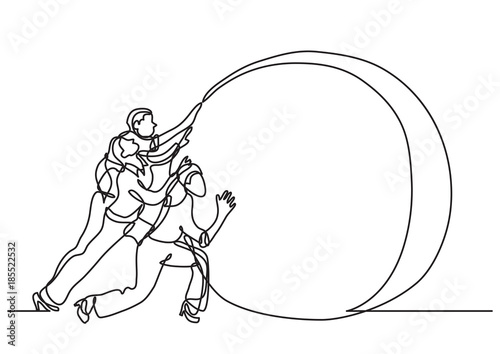Obraz continuous line drawing of business situation - team efforts - fototapety do salonu