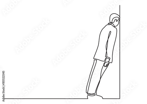 Fotografie, Obraz  continuous line drawing of business situation - man stuck in dead end job