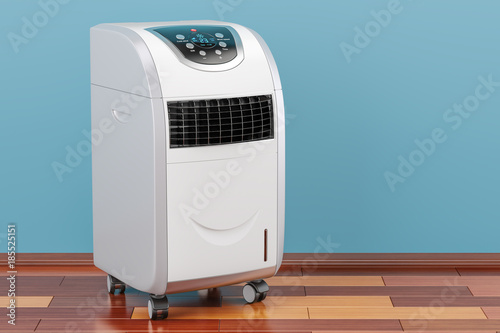 Portable Air Conditioner in room on the wooden floor, 3D rendering Wallpaper Mural