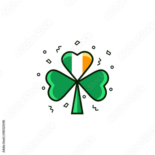 Shamrock With Irish Flag Symbol Of Ieland In Flat Color Line Style