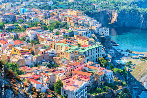 Cityscape of Marina Grande with houses and port at Sorrento Wallpaper Mural
