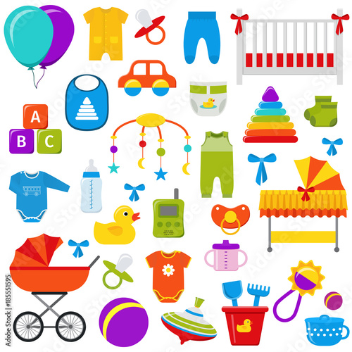 Baby Toys Vector Graphics Baby Shower Elements Set Kids Icons