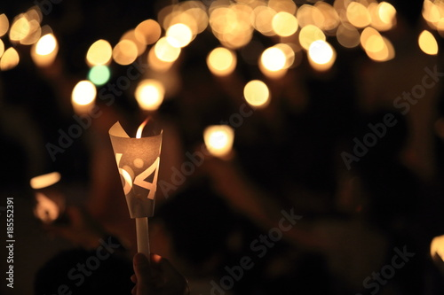 thousands of people attend the Tiananmen square 25th anniversary candlelight vig Wallpaper Mural