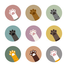 Colorful Cat Paws In Circles S...