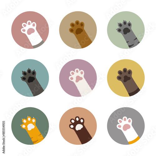 Obraz na plátně  colorful cat paws in circles set, cat paws bundle, cat vector illustration, ador