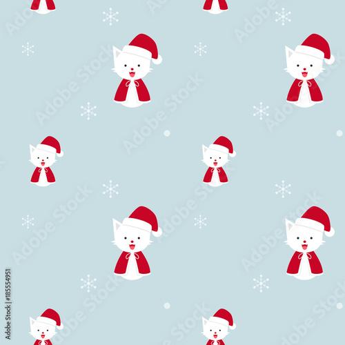 Obraz na plátně  Santa cat, Christmas cats with snow flakes in winter season, cute kitten flat ve