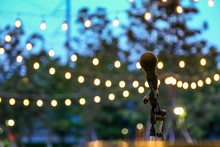 Microphone Stand For The Singer With The Light Hanging In The Park Background