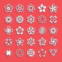 Set Of Paper Flower Shapes