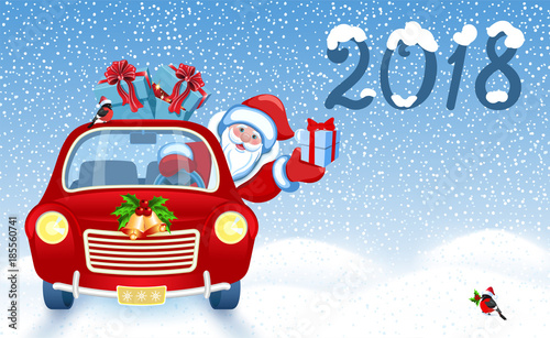 Papiers peints Chambre bébé Christmas card with Santa Claus in red car with gift box against snowfal background