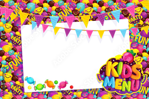 Kids Menu Card Frame Vector Illustration Happy Birthday Party Buy