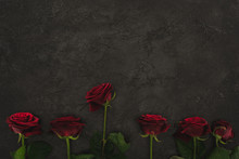 Top View Of Arranged Red Roses...