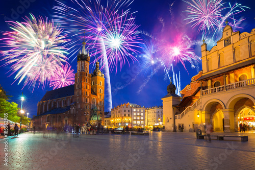 Poster Cracovie New Years firework display in Krakow, Poland