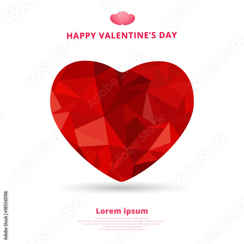 3d Origami Heart Low Polygon Design Shadow For Valentines Day Buy