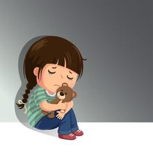Sad Little Girl Sitting Alone ...