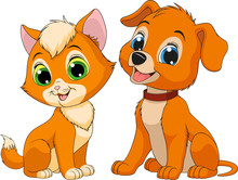 Kitten And Puppy Friends.