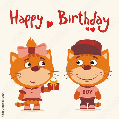 Happy Birthday Greeting Card Funny Kitten Cat Girl Gives Gift To Boy For