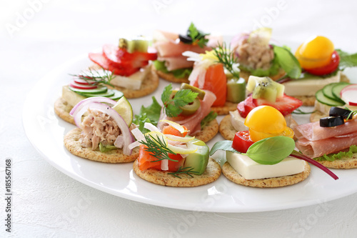 Recess Fitting Appetizer Delicous assorted cnapes for festive appetizer