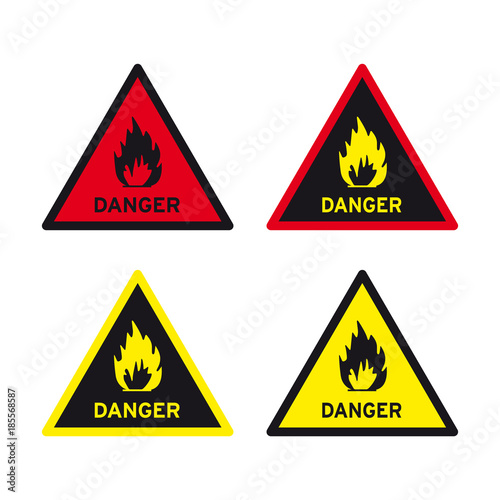 Warning Danger Flammable Liquid Gas Solid Fuel Sign Set Buy This