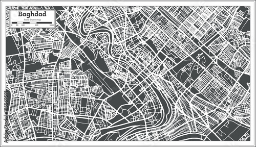 Baghdad Iraq City Map in Retro Style. Fototapet