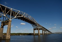Calcasieu River Bridge, Or Louisiana World War II Memorial Bridge Near Lake Charles, With Copy Space.