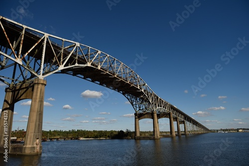 Photo Calcasieu River Bridge, or Louisiana World War II Memorial Bridge near Lake Charles, with Copy Space