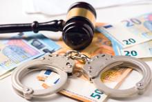 Gavel, Handcuff With Euro Mone...