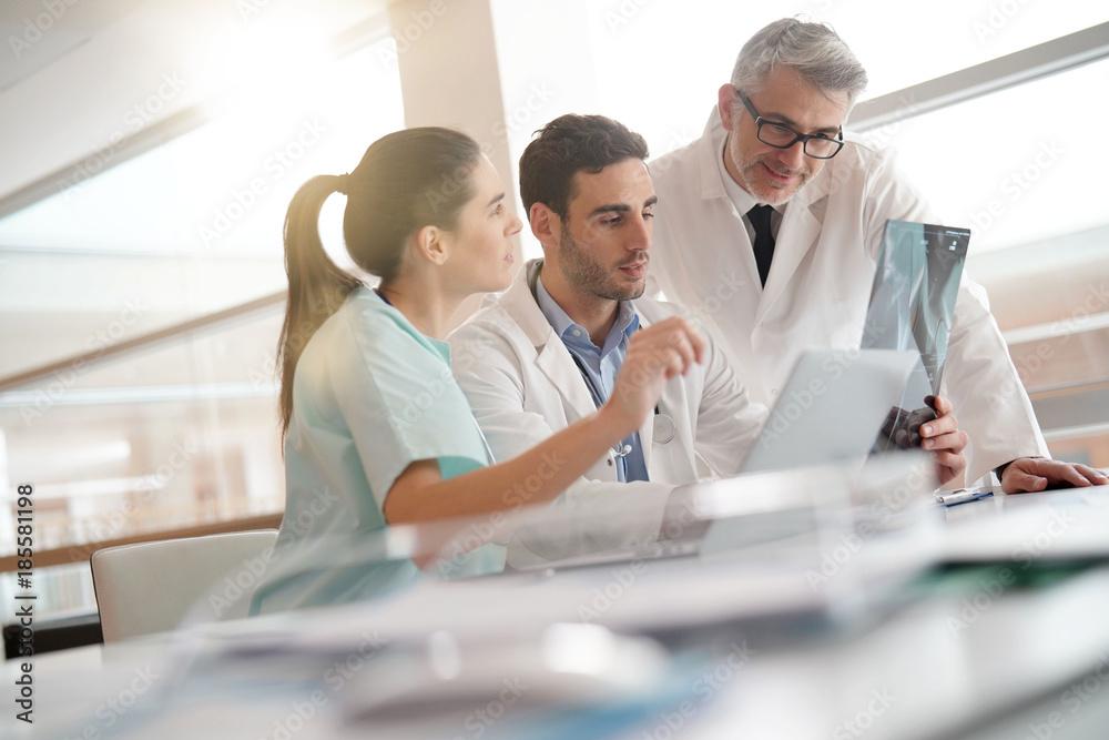 Fototapeta Medical team checking Xray results
