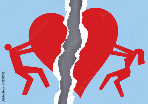 Divorced Couple Ripped Paper With Heart Symbol Ripped Paper With