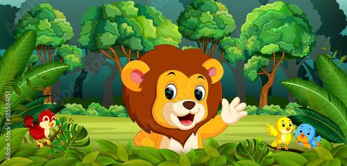 Staande foto Kids Lion in the forest