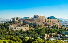 Parthenon Acropolis Among Pine Trees  Athens Greece