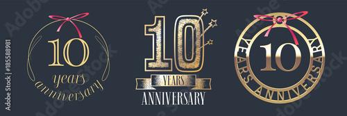 10 years anniversary vector icon, logo set Fototapete