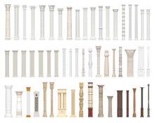 A Set Of Columns And Pillars Of Different Styles. Architectural Warrant Isolated On White Background. 3D Visualization.