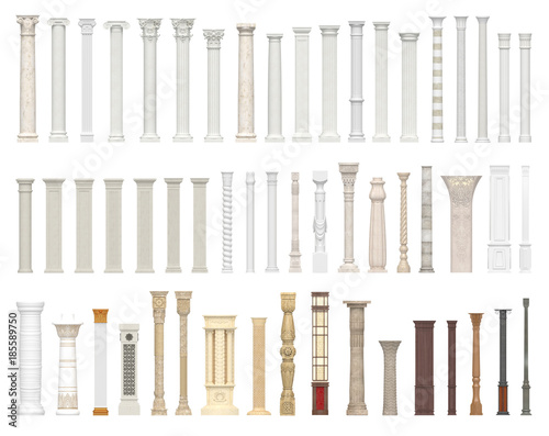 A set of columns and pillars of different styles. Architectural warrant isolated on white background. 3D visualization. Fototapete