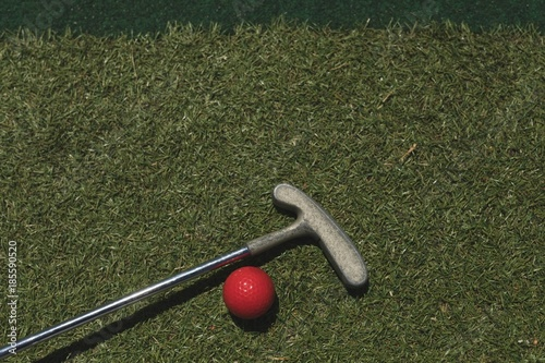 Spoed Foto op Canvas Golf Golf ball with gold club