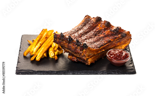 Obraz na plátně grilled ribs with fries and sauce