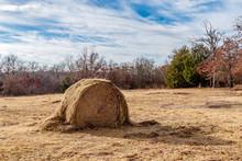 Hay Bale In A Field.