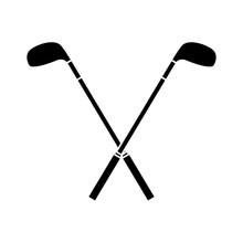 Crossed Golf Clubs Stick Equipment Image Vector Illustration